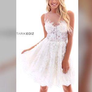 Tarik Ediz short cocktail dress-Ivory